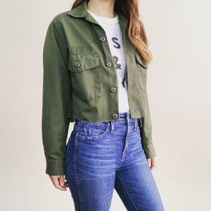 Vintage Green Cropped Button Up Jacket
